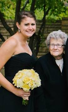 Grandma with Morgan during the professional family photos at Dan and Meg's wedding.