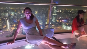 Relaxing at the Oriental Pearl Tower in Shanghai, China.
